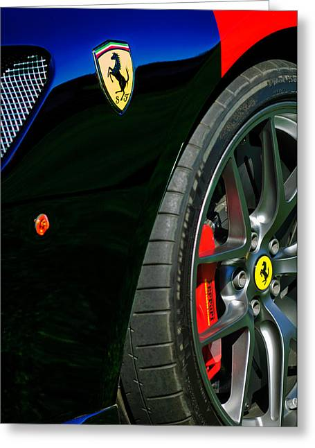 2011 Greeting Cards - 2011 Ferrari 599 GTO Emblem - Wheel -0378c Greeting Card by Jill Reger