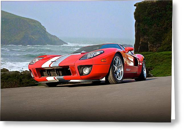 Pch Greeting Cards - 2011 Ford GT Cruzn the PCH Greeting Card by Dave Koontz