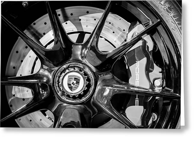 2011 Greeting Cards - 2011 Porsche 997 GT3 RS 3.8 Wheel Emblem -0989bw Greeting Card by Jill Reger