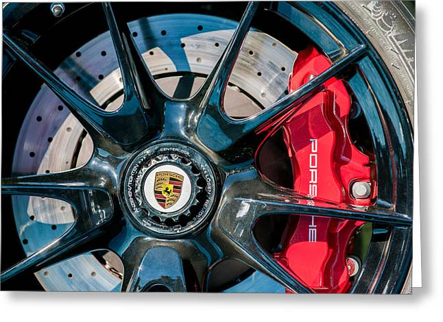2011 Greeting Cards - 2011 Porsche 997 GT3 RS 3.8 Wheel Emblem -0989c Greeting Card by Jill Reger