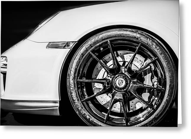 2011 Greeting Cards - 2011 Porsche 997 GT3 RS 3.8 Wheel Emblem -0998bw Greeting Card by Jill Reger