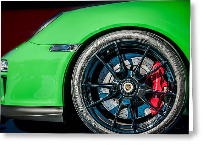 2011 Greeting Cards - 2011 Porsche 997 GT3 RS 3.8 Wheel Emblem -0998c Greeting Card by Jill Reger