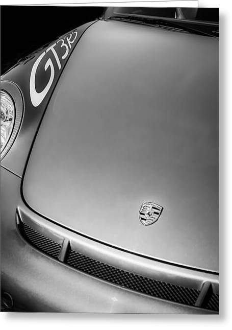 2011 Greeting Cards - 2011 Porsche GT 3 RS Hood Emblem -0710bw Greeting Card by Jill Reger
