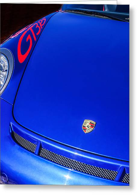2011 Greeting Cards - 2011 Porsche GT 3 RS Hood Emblem -0710c Greeting Card by Jill Reger