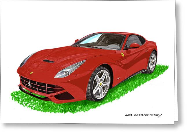 Cats Show Greeting Cards - 2012 F12 Ferrari Berlinetta GT Greeting Card by Jack Pumphrey
