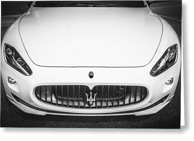 Turismo Greeting Cards - 2012 Maserarti Gran Turismo S BW Greeting Card by Rich Franco