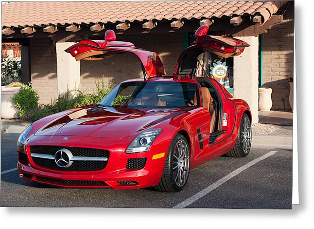 Gullwing Greeting Cards - 2012 Mercedes-Benz SLS Gullwing Greeting Card by Jill Reger