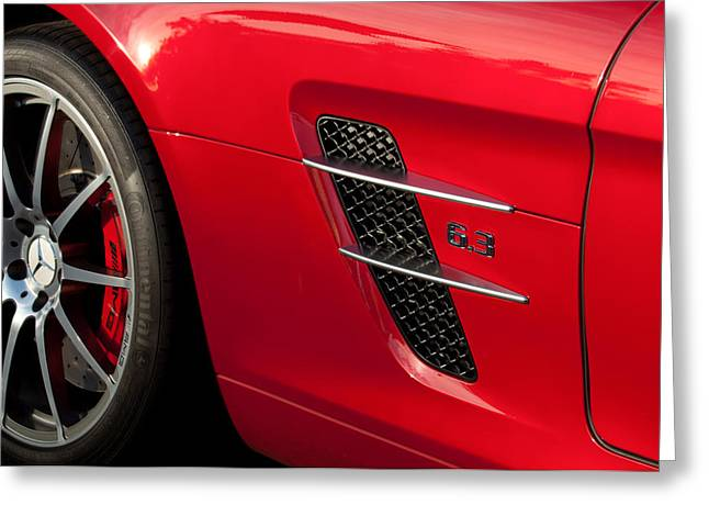 Gullwing Greeting Cards - 2012 Mercedes-Benz SLS Gullwing Wheel Greeting Card by Jill Reger