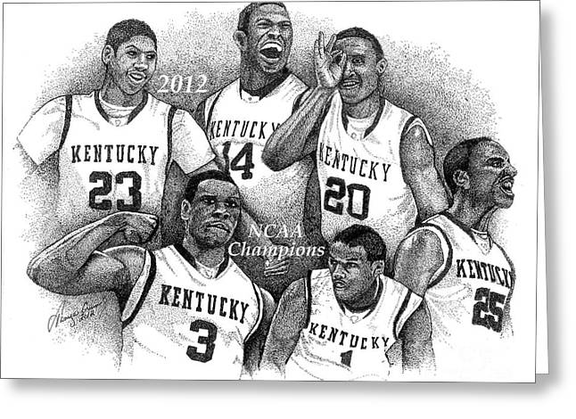 Ncaa Drawings Greeting Cards - 2012 NCAA Champion Wildcats Greeting Card by Tanya Crum