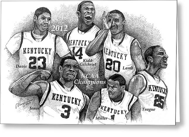 Ncaa Drawings Greeting Cards - 2012 NCAA Champions - Kentucky Greeting Card by Tanya Crum