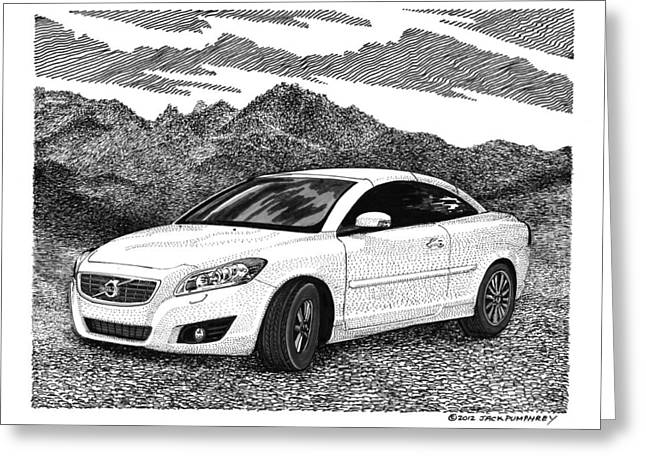Pen And Ink Framed Prints Greeting Cards - 2012 Volvo C 70 Front Greeting Card by Jack Pumphrey