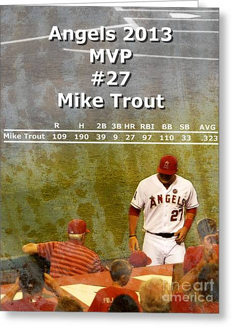 Most Valuable Player Greeting Cards - 2013 Angels MVP Greeting Card by Robert Ball