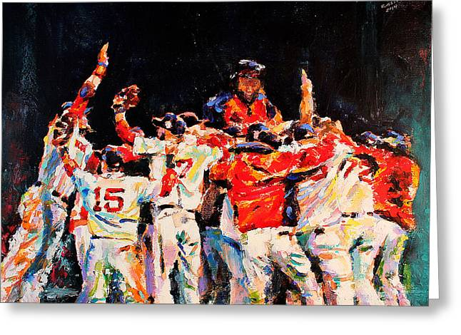 Red Sox Paintings Greeting Cards - 2013 Boston Red Sox World Series Champions Greeting Card by Derek Russell