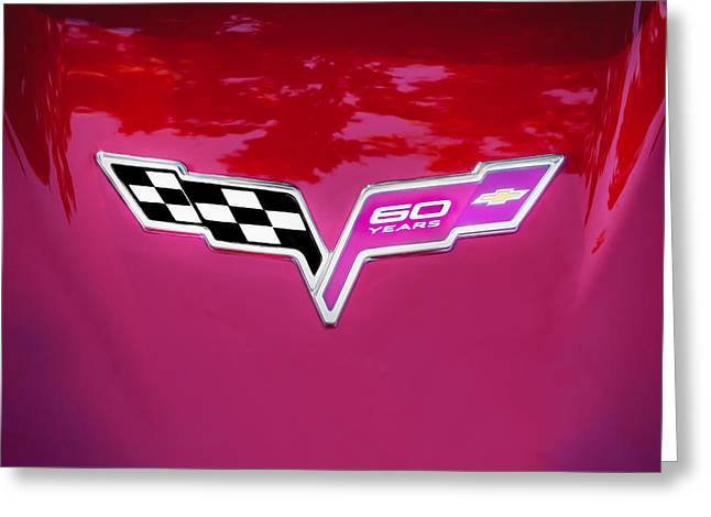 Franco Greeting Cards - 2013 Corvette 60th Anniversary Hood Logo Painted Greeting Card by Rich Franco
