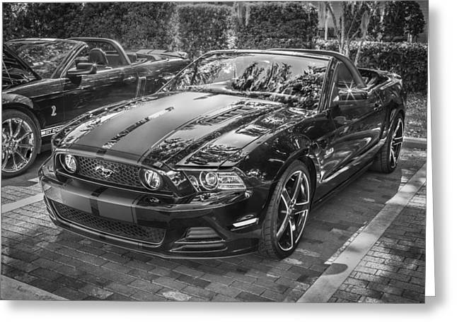 420 Greeting Cards - 2013 Ford Shelby Mustang GT 5.0 Convertible BW  Greeting Card by Rich Franco