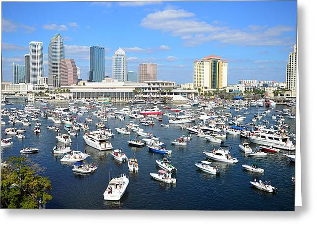 Pirate Ships Greeting Cards - 2013 Gasparilla Pirate Fest Greeting Card by David Lee Thompson