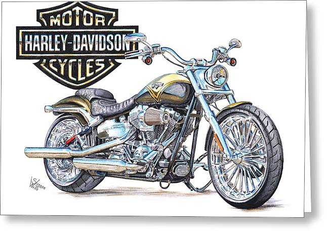 Hogs Greeting Cards - 2013 Harley Davidson CVO Breakout Greeting Card by Shannon Watts