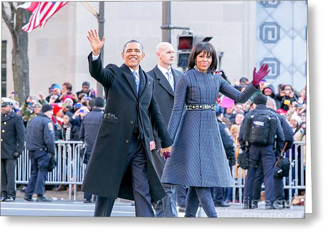 Michelle-obama Greeting Cards - 2013 Inaugural Parade Greeting Card by Ava Reaves