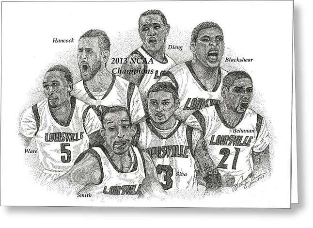 Ncaa Drawings Greeting Cards - 2013 NCAA Champion Louisville Greeting Card by Tanya Crum