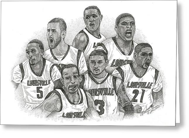 Ncaa Drawings Greeting Cards - 2013 NCAA Champions Greeting Card by Tanya Crum