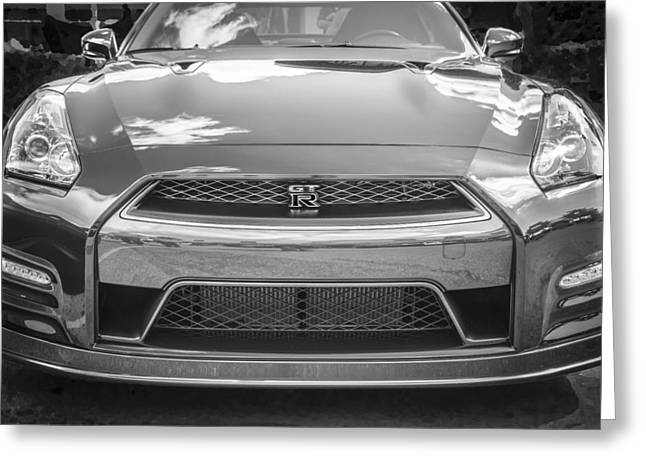 Import Cars Greeting Cards - 2013 Nissan GT R BW Greeting Card by Rich Franco