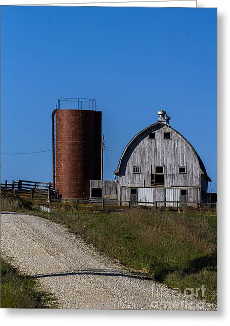 Barn Yard Greeting Cards - 2013 Oct Old Barn and Silo on a Hill Greeting Card by Rick Grisolano Photography LLC