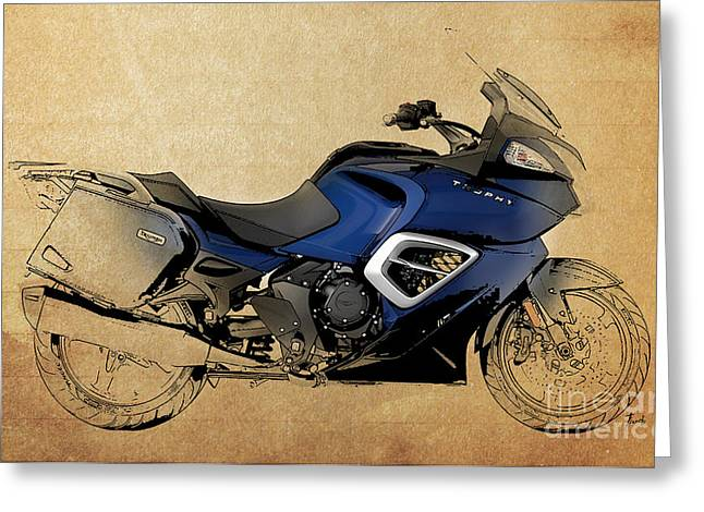 Blue Bike Greeting Cards - 2013 Triumph Trophy Greeting Card by Pablo Franchi