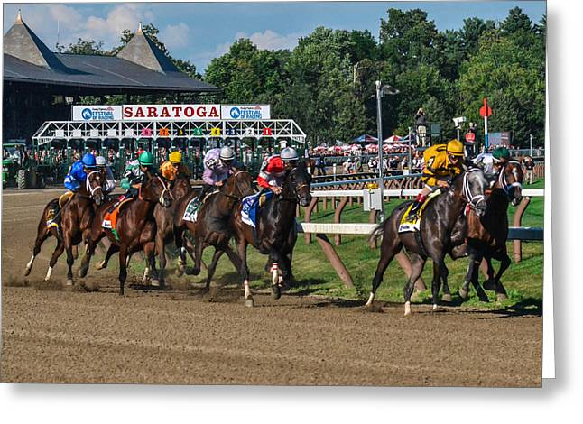 Recently Sold -  - Race Horse Greeting Cards - 2013 Whitney Stakes Greeting Card by William Stephen
