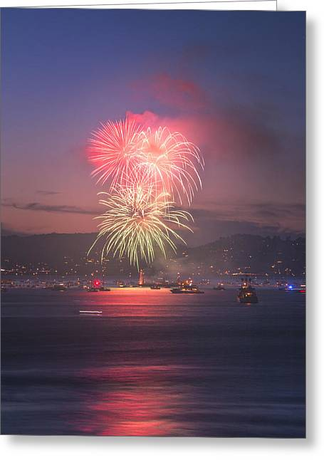 4th Pyrography Greeting Cards - 2014 4th of July Firework Celebration.  Greeting Card by Jason Choy