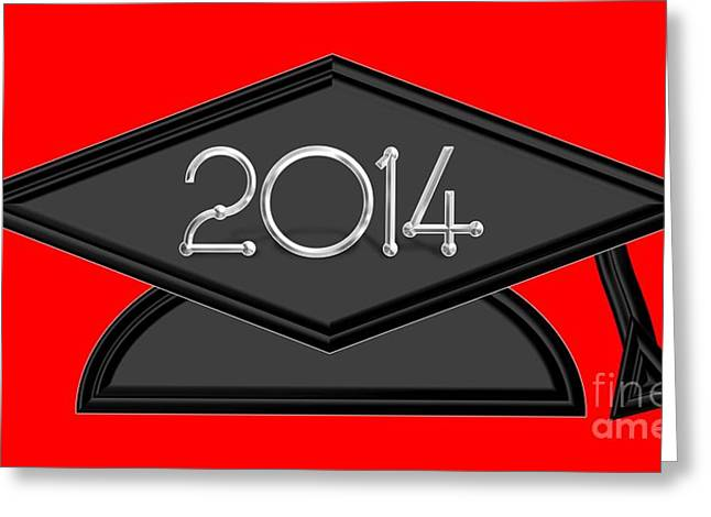 Graduation Party Greeting Cards - 2014 Black and Silver Graduation Cap Greeting Card by Rose Santuci-Sofranko