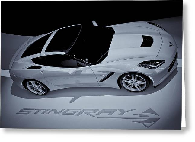 2014 Chevy Corvette  Bw Greeting Card by Rachel Cohen