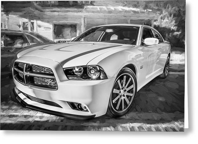 2014 Dodge Charger Rt Painted Bw Greeting Card by Rich Franco