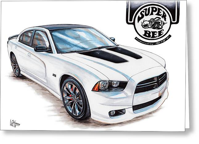 Bees Drawings Greeting Cards - 2014 Dodge Charger Super Bee Greeting Card by Shannon Watts