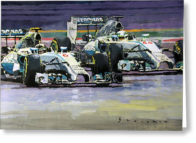 Lewis Greeting Cards - 2014 F1 MERCEDES AMG PETRONAS  Lewis Hamilton vs Nico Rosberg Greeting Card by Yuriy Shevchuk