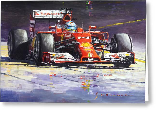 Fernando Greeting Cards - 2014 Ferrari F14T Fernando Alonso  Greeting Card by Yuriy Shevchuk