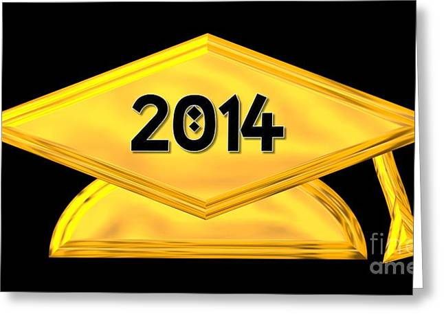 Graduation Party Greeting Cards - 2014 Golden Graduation Cap Greeting Card by Rose Santuci-Sofranko