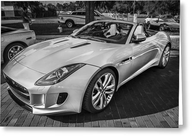 Import Cars Greeting Cards - 2014 Jaguar F Type V8 Convertible Painted BW  Greeting Card by Rich Franco