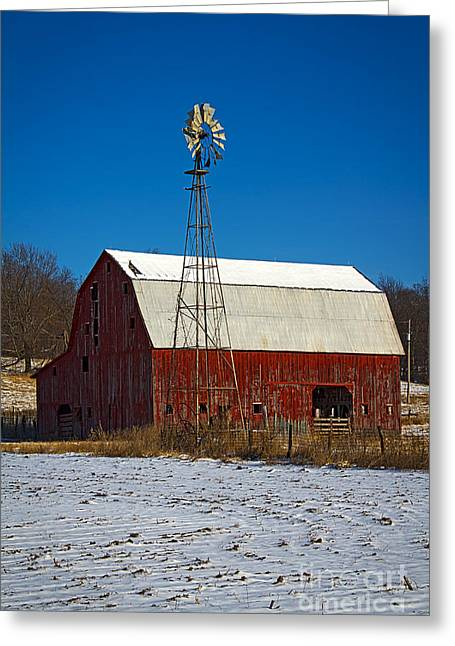 Barn Yard Greeting Cards - 2014 Jan Old Barn and Windmill No 1 Greeting Card by Rick Grisolano Photography LLC