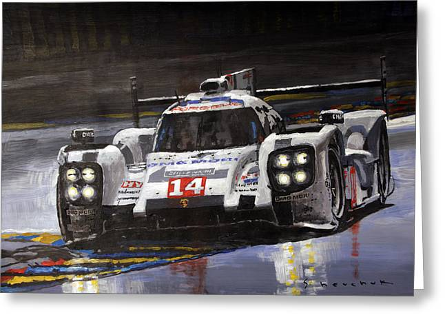 24 Greeting Cards - 2014 Le Mans 24 Porsche 919 Hybrid  Greeting Card by Yuriy Shevchuk
