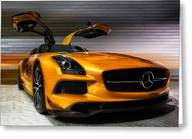 Cellphone Greeting Cards - 2014 Mercedes-Benz SLS AMG Greeting Card by Jerome Obille