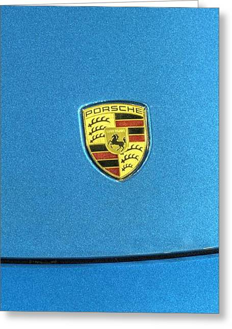 Huahin Greeting Cards - 2014 Porsche Cayman S  logo blue Greeting Card by John Straton