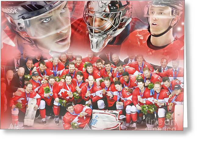 Sochi 2014 Winter Olympics Greeting Cards - 2014 Team Canada Greeting Card by Mike Oulton