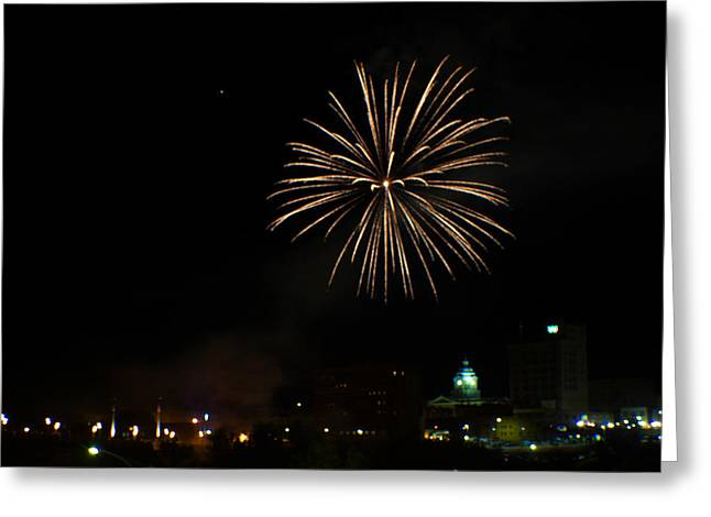 West Virginia Greeting Cards - 2014 Three Rivers Festival Fireworks Fairmont WV 3 Greeting Card by Howard Tenke