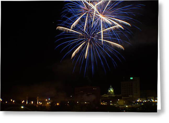 Pyrotechnics Greeting Cards - 2014 Three Rivers Festival Fireworks Fairmont WV 4 Greeting Card by Howard Tenke
