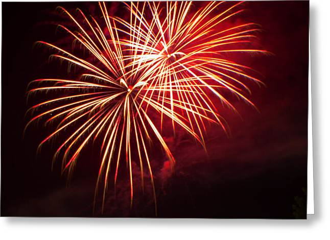 Pyrotechnics Greeting Cards - 2014 Three Rivers Festival Fireworks Fairmont WV 5 Greeting Card by Howard Tenke