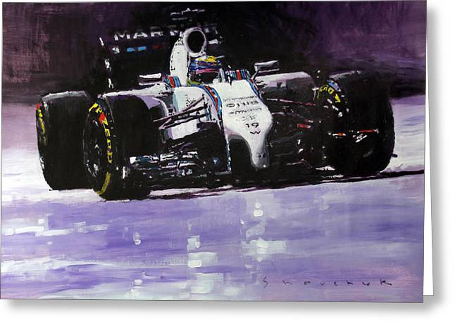 White Paintings Greeting Cards - 2014 Williams F1 Team FW 36 Felipe Massa  Greeting Card by Yuriy Shevchuk