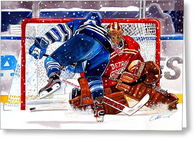 Hockey Winter Classic Drawings Greeting Cards - 2014 Winter Classic Greeting Card by Dave Olsen