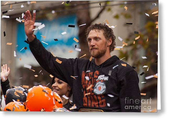 Att Ballpark Photographs Greeting Cards - 2014 World Series Champions San Francisco Giants Dynasty Parade Hunter Pence 5D29764 Greeting Card by Wingsdomain Art and Photography
