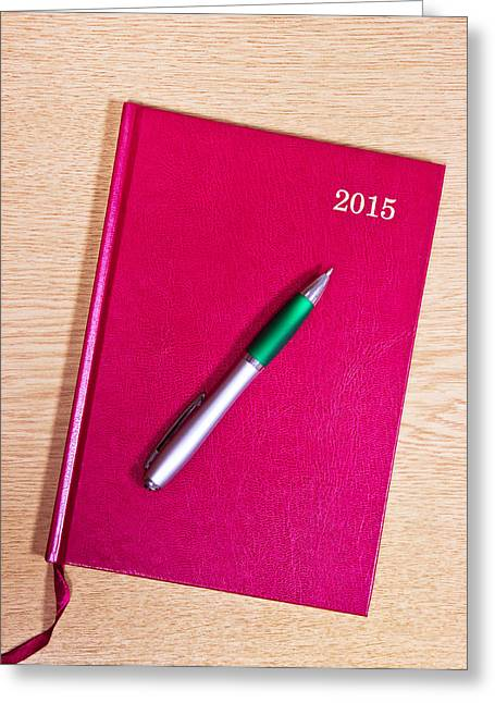 New Year Greeting Cards - 2015 Diary Greeting Card by Tom Gowanlock