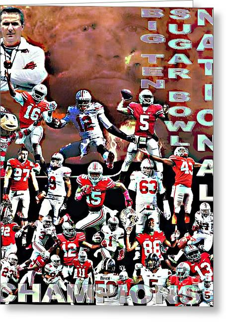 2015 Ohio State National Champions Greeting Card by Gerard  Schneider Jr